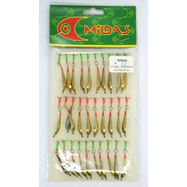 Блешня для зимової риболовлі Mildas з підвісним трійником №12, середня, 30шт