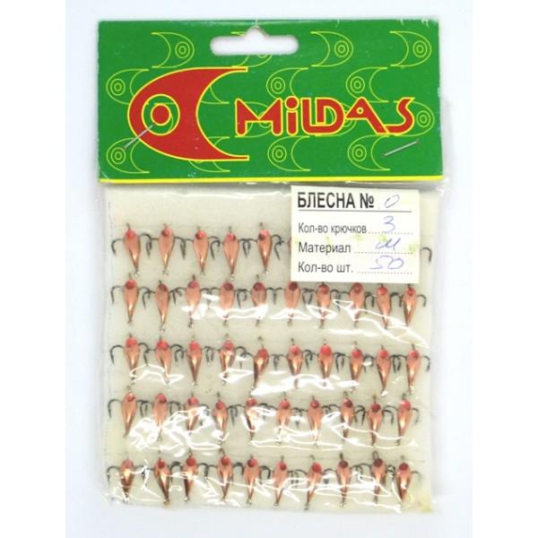 Зимняя блесна Милдас (Mildas) №0,  малая, 3 кр., 50шт