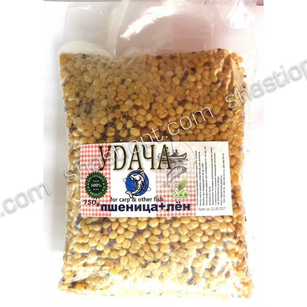 Суміш прикормочная розпарена Удача, Пшениця+Льон, Натур, 750г