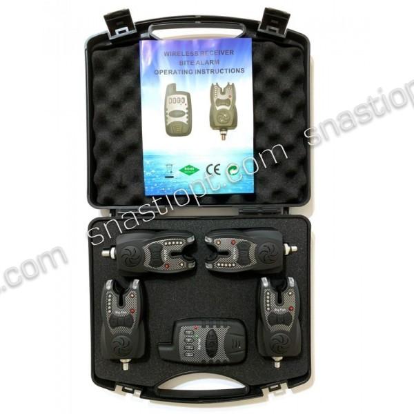 Набор электронных сигнализаторов поклевки Big Fish, модель 521, 4шт + пейджер